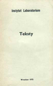 "Okładka książki ""Teksty"", Instytut Laboratorium, 1975"