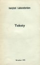 Cover of the book Teksty [Texts], Laboratory Institute, 1975