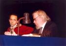 Jerzy Grotowski i Thomas Richards podczas spotkania z publicznością, Teatr Polski we Wrocławiu, 3 marca 1997. Fot. Jerzy Lajstowicz