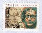 """Znaczek Poczty Polskiej """"Polskie Milenium"""" z wizerunkiem Jerzego Grotowskiego, 2001"""