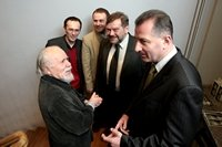 Inauguration of the Grotowski Institute. From left: Ludwik Flaszen, Grzegorz Ziolkowski, Jaroslaw Fret, Jaroslaw Broda, Rafal Dutkiewicz. Phot. Lukasz Giza